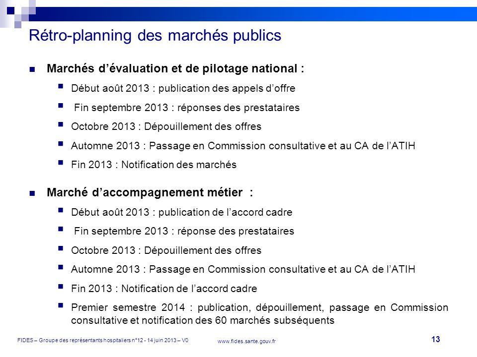 13 FIDES – Groupe des représentants hospitaliers n°12 - 14 juin 2013 – V0 www.fides.sante.gouv.fr Rétro-planning des marchés publics Marchés dévaluati