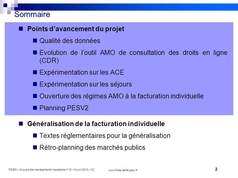 2 FIDES – Groupe des représentants hospitaliers n°12 - 14 juin 2013 – V0 www.fides.sante.gouv.fr Sommaire Points davancement du projet Qualité des don