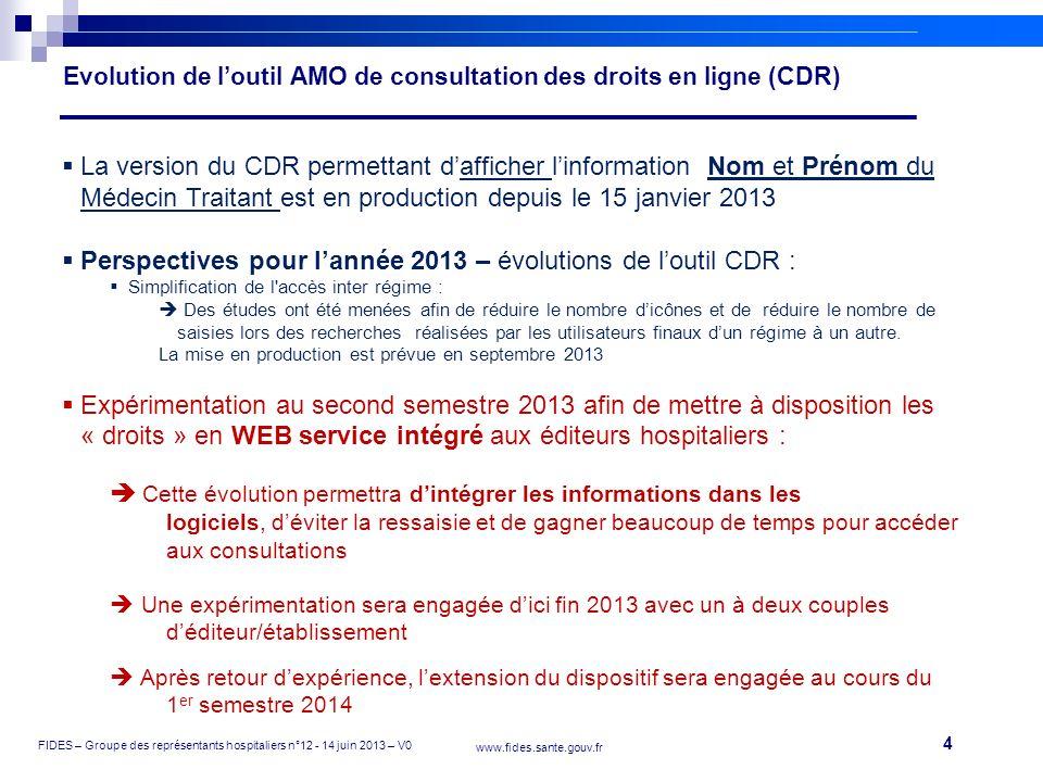 4 FIDES – Groupe des représentants hospitaliers n°12 - 14 juin 2013 – V0 www.fides.sante.gouv.fr Evolution de loutil AMO de consultation des droits en