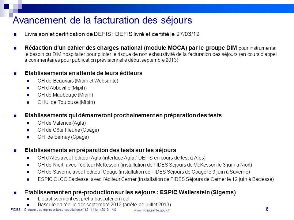 6 FIDES – Groupe des représentants hospitaliers n°12 - 14 juin 2013 – V0 www.fides.sante.gouv.fr Livraison et certification de DEFIS : DEFIS livré et