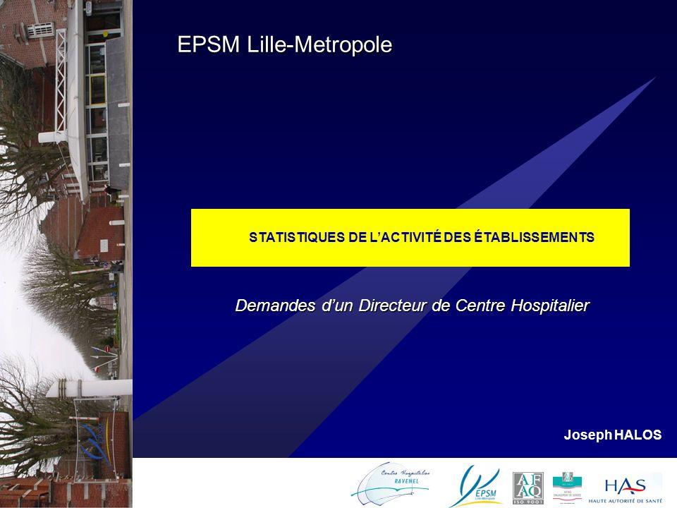 1 STATISTIQUES DE LACTIVITÉ DES ÉTABLISSEMENTS EPSM Lille-Metropole Joseph HALOS Demandes dun Directeur de Centre Hospitalier