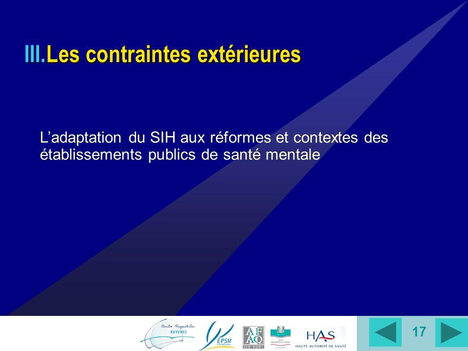 17 III.Les contraintes extérieures Ladaptation du SIH aux réformes et contextes des établissements publics de santé mentale