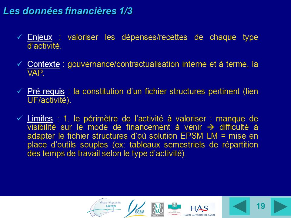 19 Les données financières 1/3 Enjeux : valoriser les dépenses/recettes de chaque type dactivité. Contexte : gouvernance/contractualisation interne et