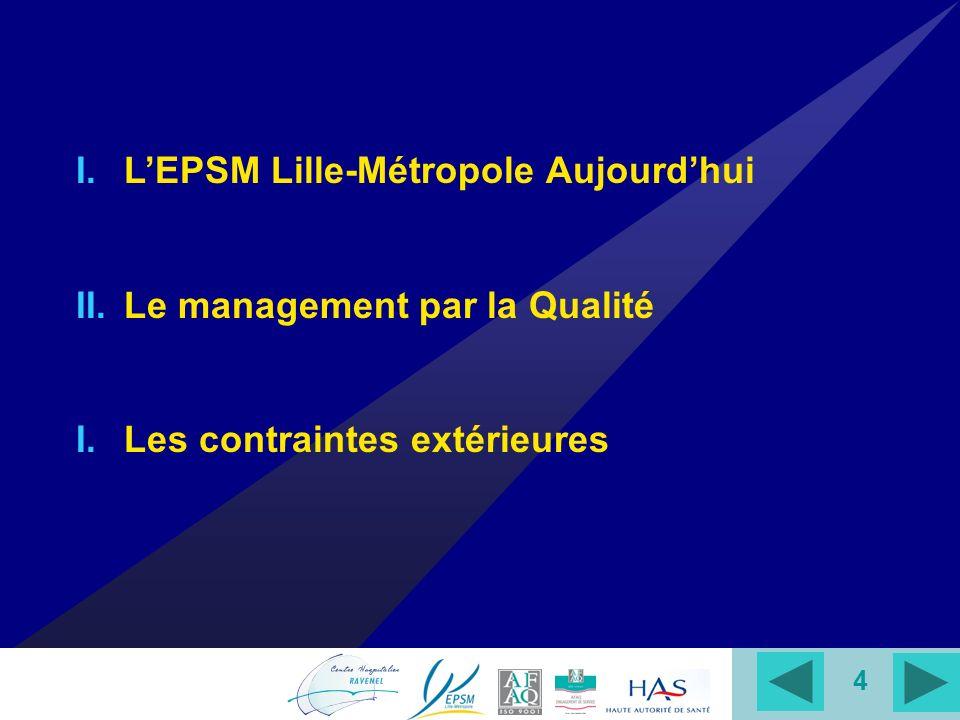 4 I.LEPSM Lille-Métropole Aujourdhui II.Le management par la Qualité I.Les contraintes extérieures