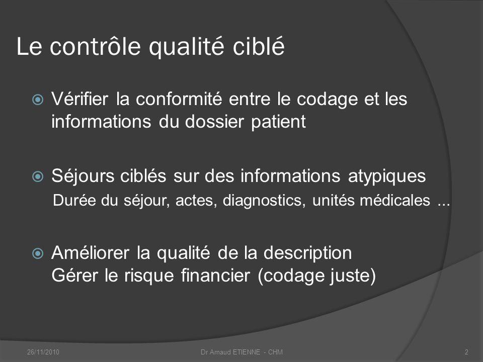 Le contrôle qualité ciblé Vérifier la conformité entre le codage et les informations du dossier patient Séjours ciblés sur des informations atypiques