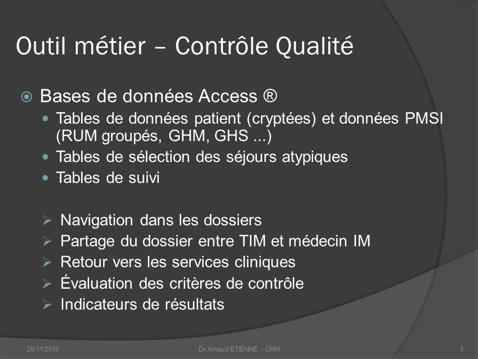 Outil métier – Contrôle Qualité Bases de données Access ® Tables de données patient (cryptées) et données PMSI (RUM groupés, GHM, GHS...) Tables de sé