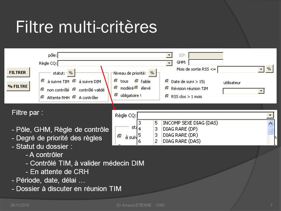 Filtre multi-critères Filtre par : - Pôle, GHM, Règle de contrôle - Degré de priorité des règles - Statut du dossier : - A contrôler - Contrôlé TIM, à