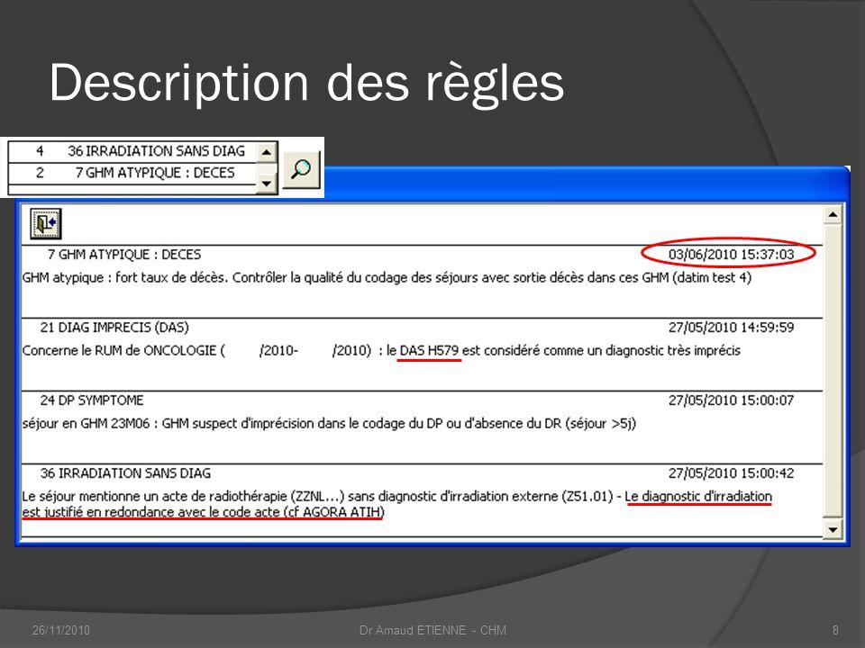 Description des règles 26/11/20108Dr Arnaud ETIENNE - CHM