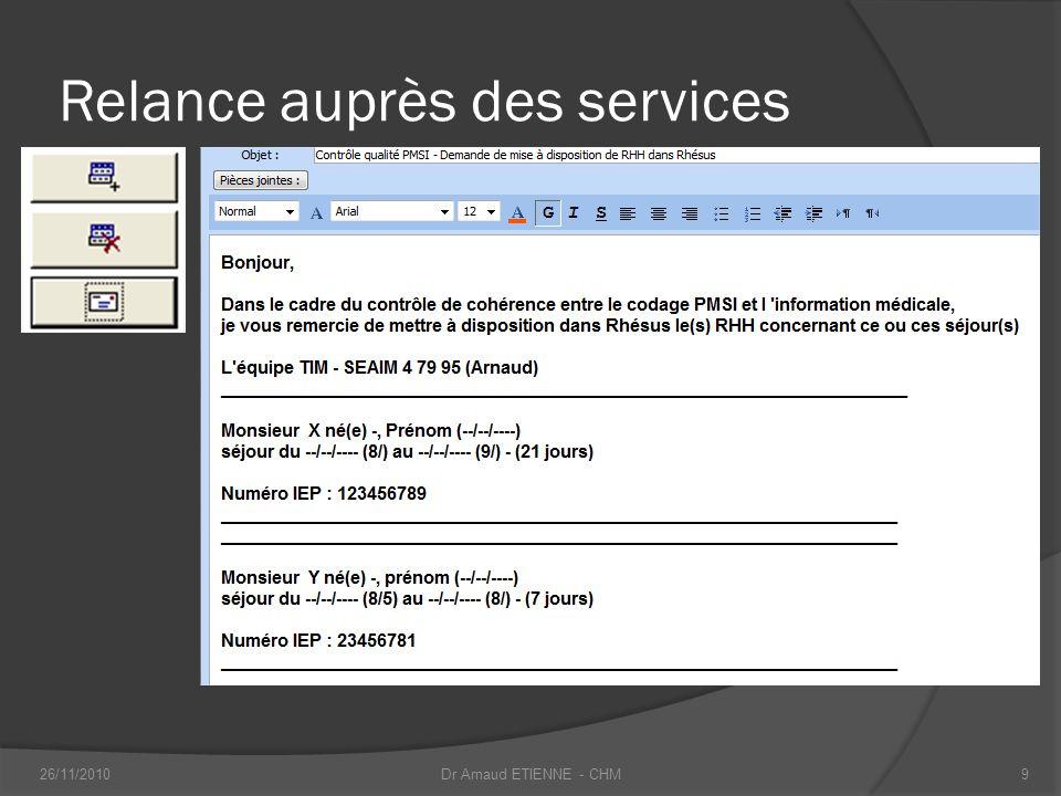 Relance auprès des services 26/11/20109Dr Arnaud ETIENNE - CHM