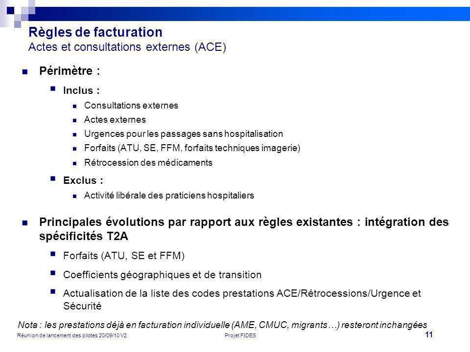 11 Réunion de lancement des pilotes 20/09/10 V2Projet FIDES Règles de facturation Actes et consultations externes (ACE) Périmètre : Inclus : Consultat