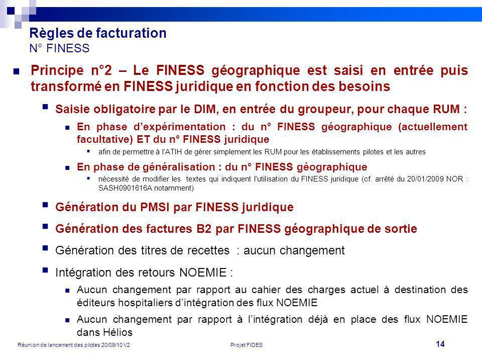 14 Réunion de lancement des pilotes 20/09/10 V2Projet FIDES Règles de facturation N° FINESS Principe n°2 – Le FINESS géographique est saisi en entrée