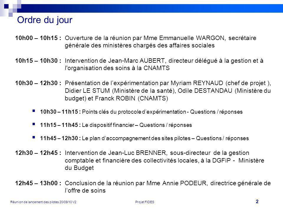 2 Réunion de lancement des pilotes 20/09/10 V2Projet FIDES Ordre du jour 10h00 – 10h15 :Ouverture de la réunion par Mme Emmanuelle WARGON, secrétaire