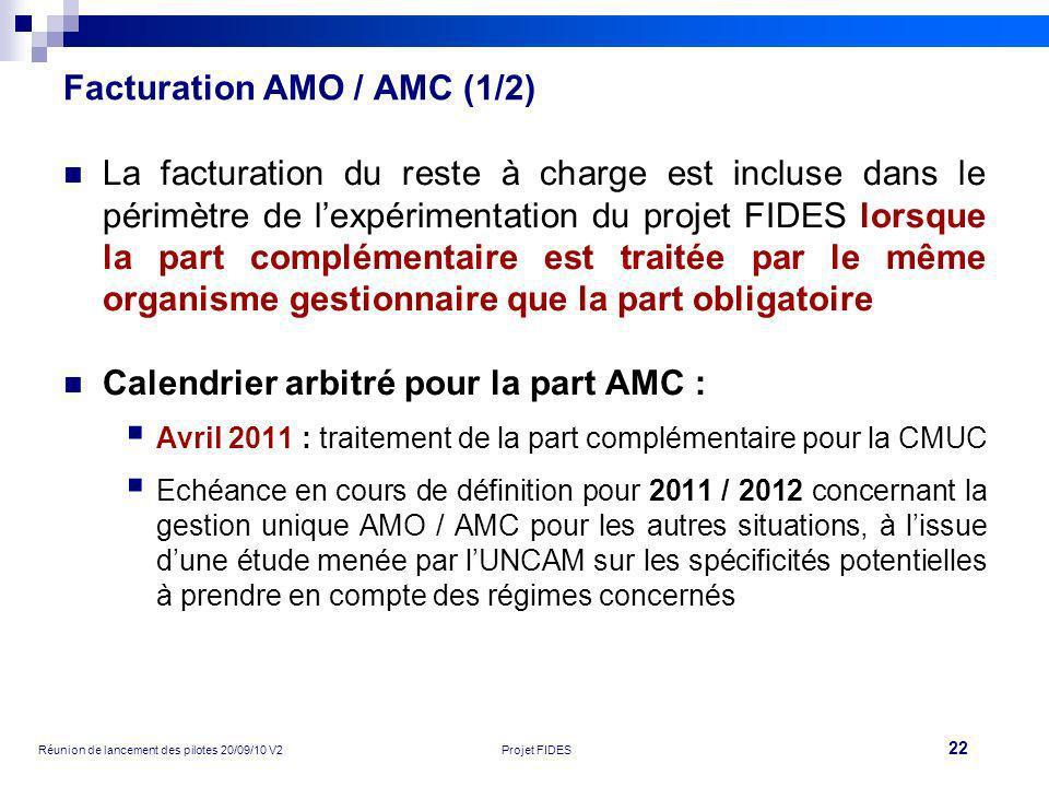 22 Réunion de lancement des pilotes 20/09/10 V2Projet FIDES Facturation AMO / AMC (1/2) La facturation du reste à charge est incluse dans le périmètre