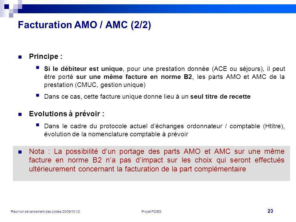 23 Réunion de lancement des pilotes 20/09/10 V2Projet FIDES Facturation AMO / AMC (2/2) Principe : Si le débiteur est unique, pour une prestation donn