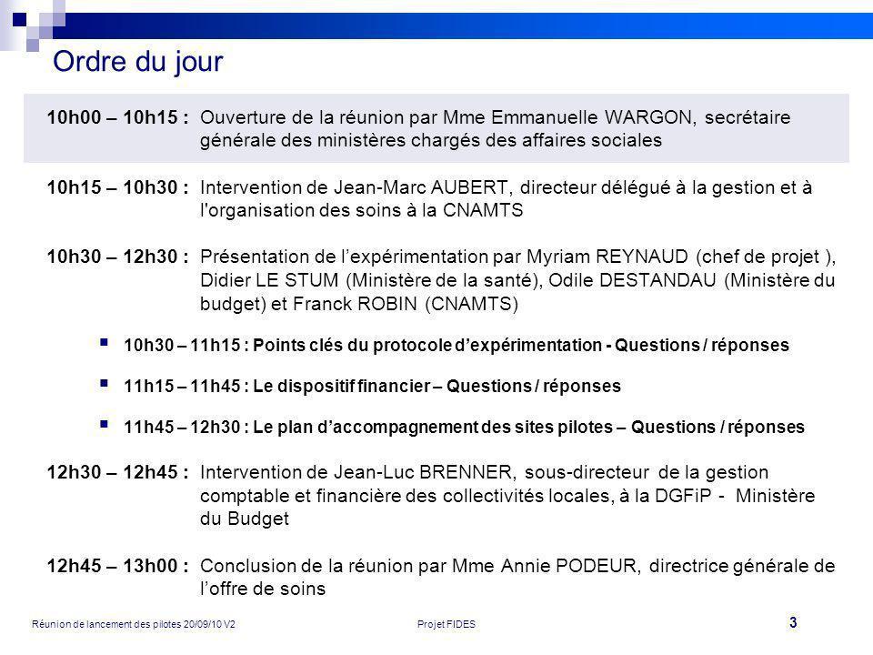3 Réunion de lancement des pilotes 20/09/10 V2Projet FIDES Ordre du jour 10h00 – 10h15 :Ouverture de la réunion par Mme Emmanuelle WARGON, secrétaire
