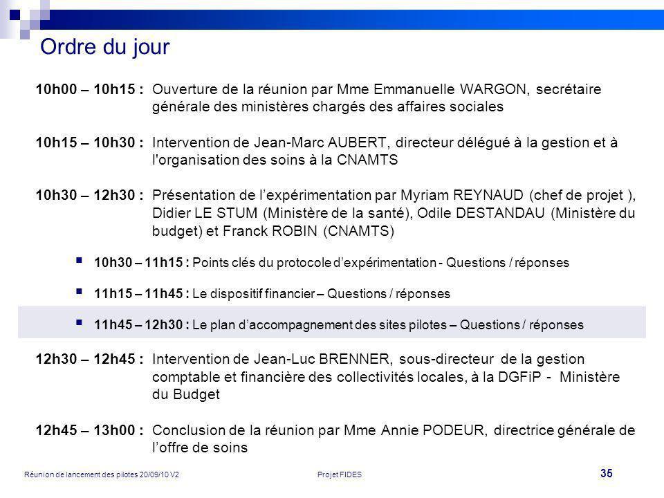 35 Réunion de lancement des pilotes 20/09/10 V2Projet FIDES Ordre du jour 10h00 – 10h15 :Ouverture de la réunion par Mme Emmanuelle WARGON, secrétaire