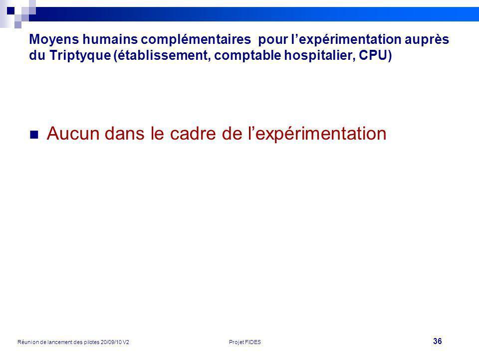 36 Réunion de lancement des pilotes 20/09/10 V2Projet FIDES Moyens humains complémentaires pour lexpérimentation auprès du Triptyque (établissement, c