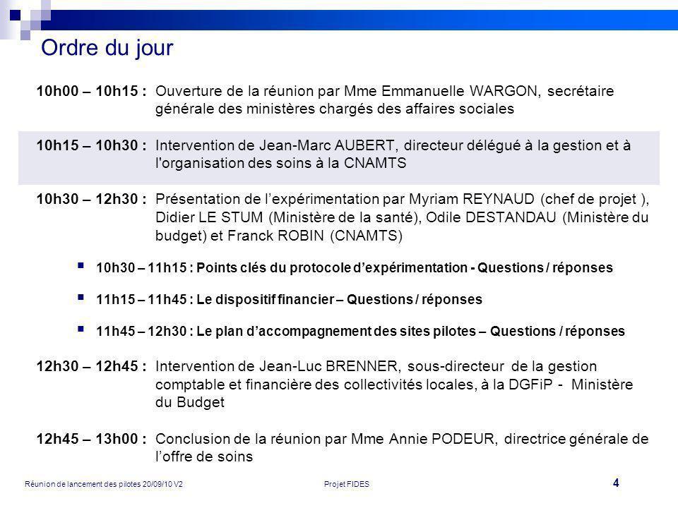 4 Réunion de lancement des pilotes 20/09/10 V2Projet FIDES Ordre du jour 10h00 – 10h15 :Ouverture de la réunion par Mme Emmanuelle WARGON, secrétaire