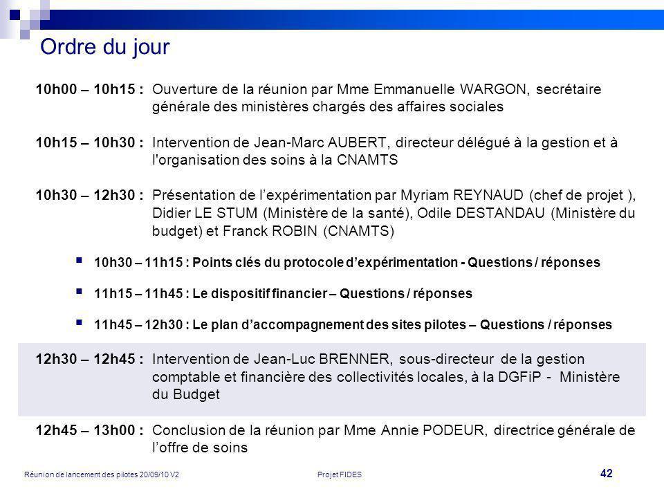 42 Réunion de lancement des pilotes 20/09/10 V2Projet FIDES Ordre du jour 10h00 – 10h15 :Ouverture de la réunion par Mme Emmanuelle WARGON, secrétaire