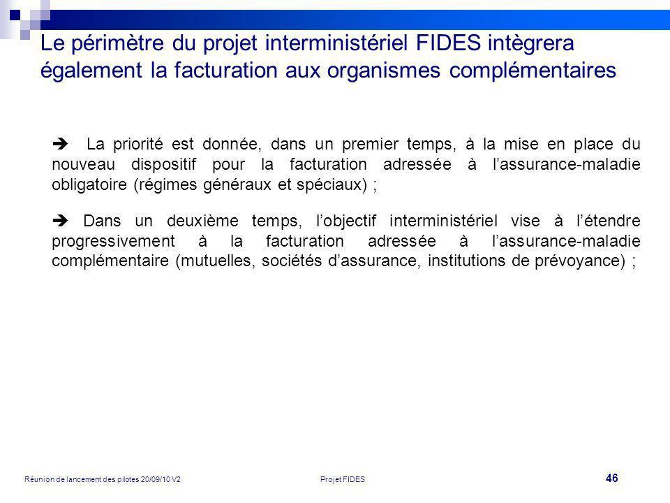 46 Réunion de lancement des pilotes 20/09/10 V2Projet FIDES Le périmètre du projet interministériel FIDES intègrera également la facturation aux organ