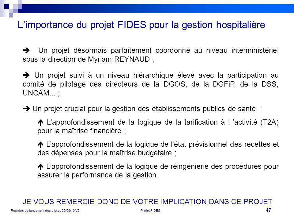 47 Réunion de lancement des pilotes 20/09/10 V2Projet FIDES Limportance du projet FIDES pour la gestion hospitalière Un projet désormais parfaitement