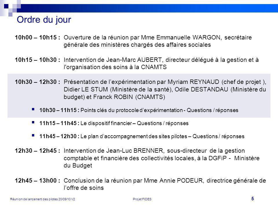 5 Réunion de lancement des pilotes 20/09/10 V2Projet FIDES Ordre du jour 10h00 – 10h15 :Ouverture de la réunion par Mme Emmanuelle WARGON, secrétaire