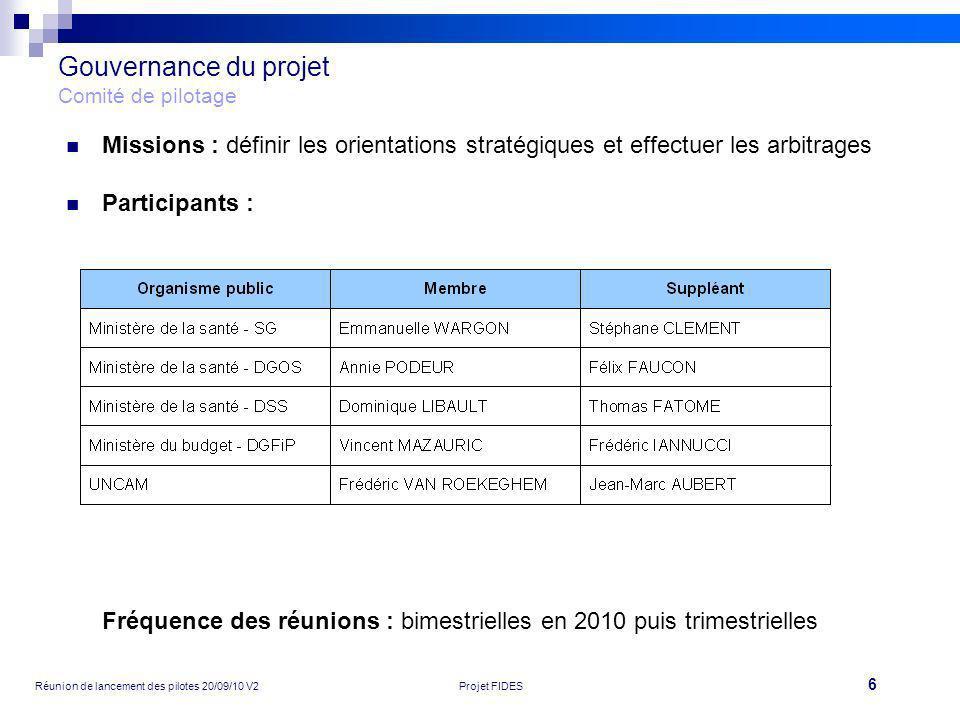 7 Réunion de lancement des pilotes 20/09/10 V2Projet FIDES Gouvernance du projet Comité projet Missions : suivre le bon déroulement du projet et des ajustements proposés Participants : Fréquence des réunions : bimensuelles en 2010 puis mensuelles