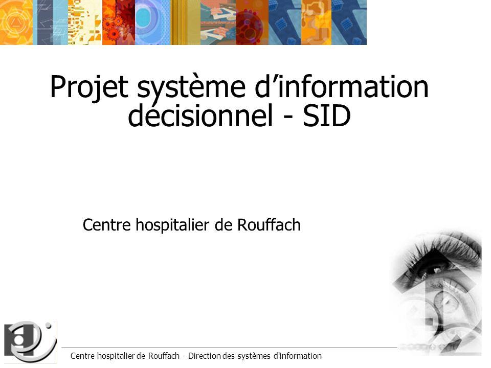 Centre hospitalier de Rouffach - Direction des systèmes d'information Projet système dinformation décisionnel - SID Centre hospitalier de Rouffach