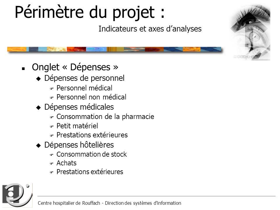 Centre hospitalier de Rouffach - Direction des systèmes d'information Périmètre du projet : Indicateurs et axes danalyses n Onglet « Dépenses » u Dépe