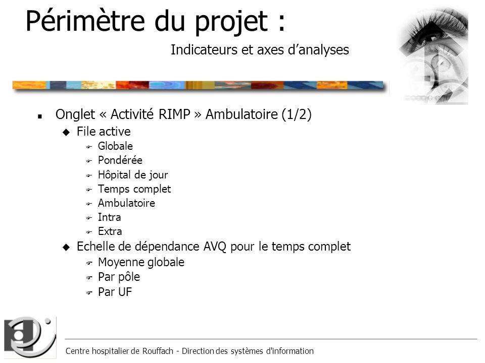 Centre hospitalier de Rouffach - Direction des systèmes d'information Périmètre du projet : Indicateurs et axes danalyses n Onglet « Activité RIMP » A
