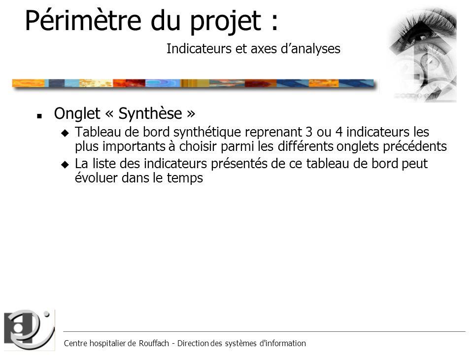 Centre hospitalier de Rouffach - Direction des systèmes d'information Périmètre du projet : Indicateurs et axes danalyses n Onglet « Synthèse » u Tabl