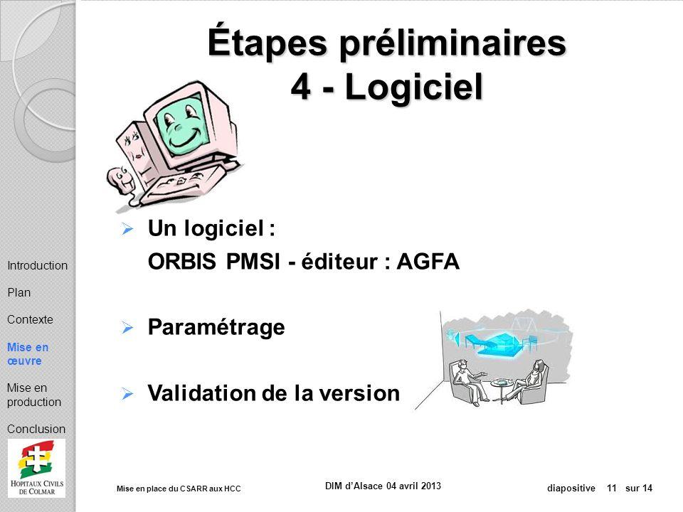 Mise en place du CSARR aux HCC diapositive 11 sur 14 DIM dAlsace 04 avril 2013 Étapes préliminaires 4 - Logiciel Un logiciel : ORBIS PMSI - éditeur :
