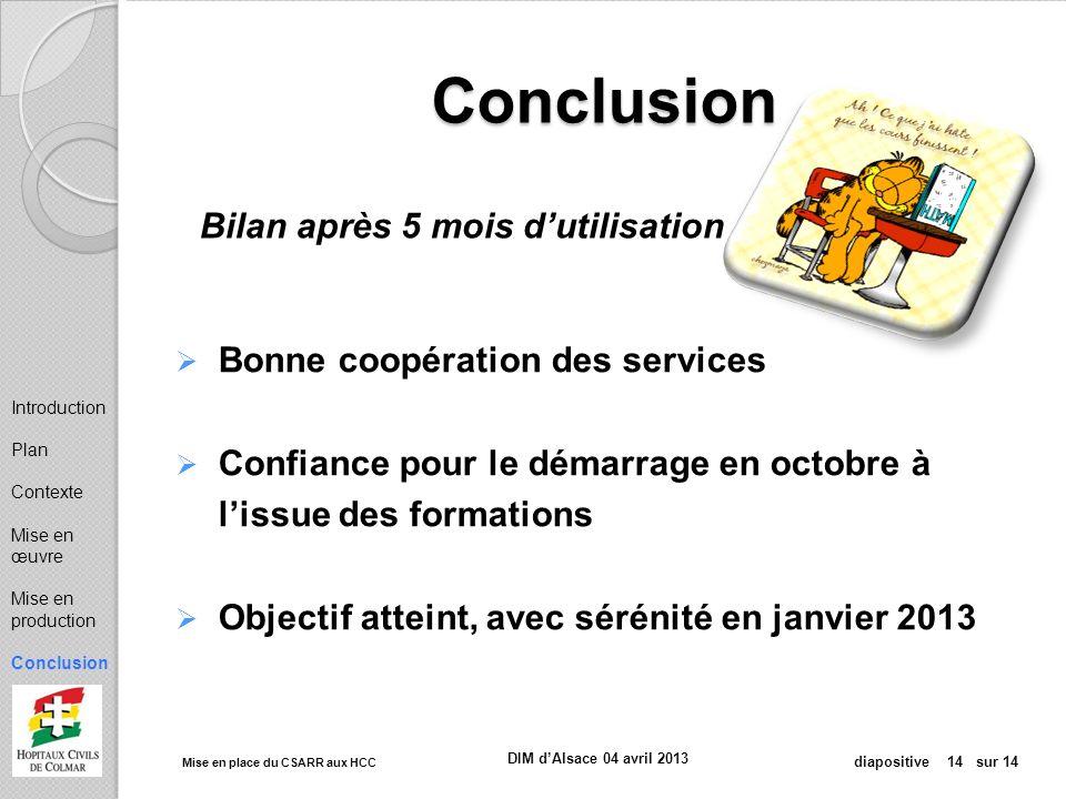 Mise en place du CSARR aux HCC diapositive 14 sur 14 DIM dAlsace 04 avril 2013 Conclusion Bonne coopération des services Confiance pour le démarrage e