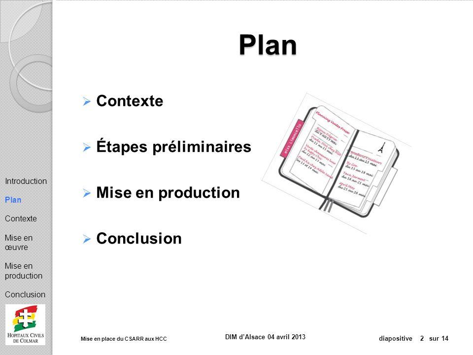Mise en place du CSARR aux HCC diapositive 13 sur 14 DIM dAlsace 04 avril 2013 Mise en production Démarrage de la saisie Assistance téléphonique et organisation Requêtes de cohérence Mise en place des correctifs Introduction Plan Contexte Mise en œuvre Mise en production Conclusion