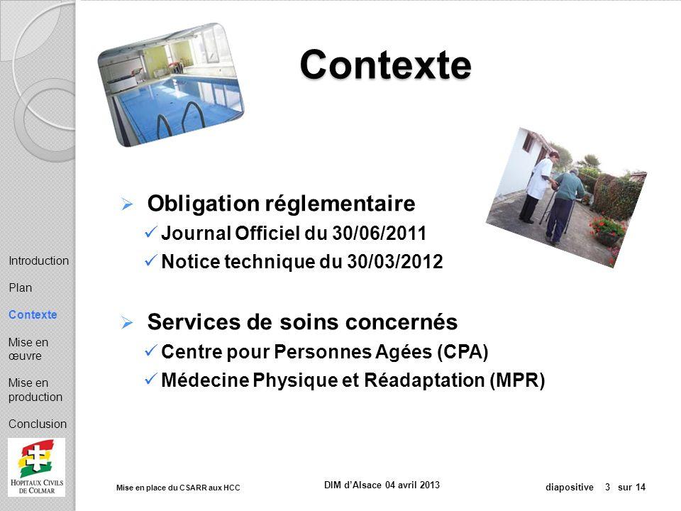 Mise en place du CSARR aux HCC diapositive 3 sur 14 DIM dAlsace 04 avril 2013 Contexte Obligation réglementaire Journal Officiel du 30/06/2011 Notice