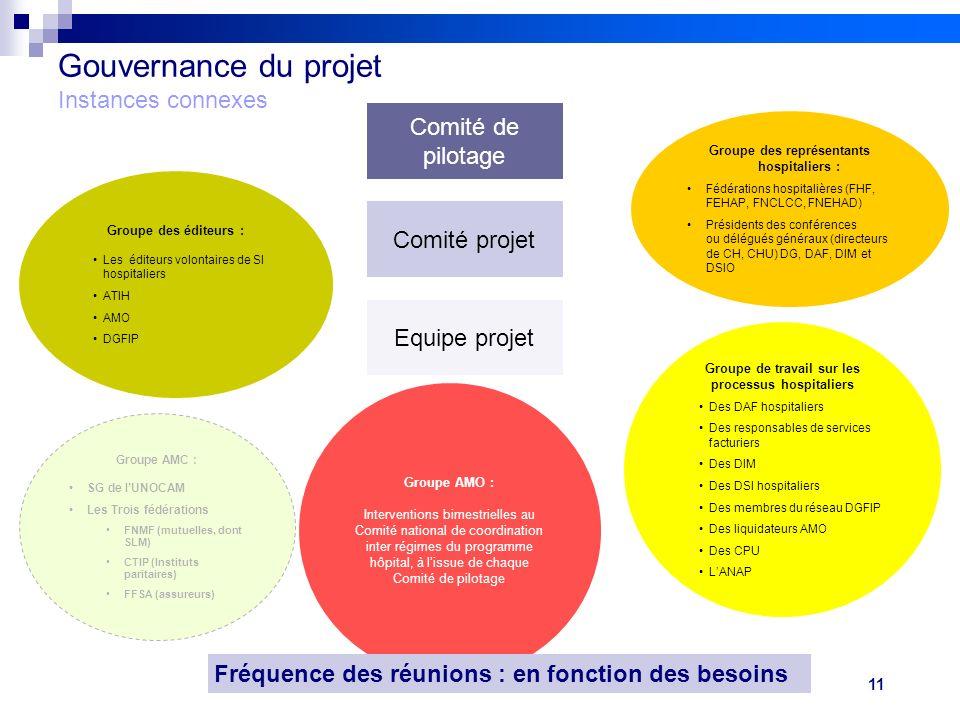 11 Réunion FEHAP 16/11/10 V1Projet FIDES Gouvernance du projet Instances connexes Comité de pilotage Comité projet Equipe projet Groupe des éditeurs :
