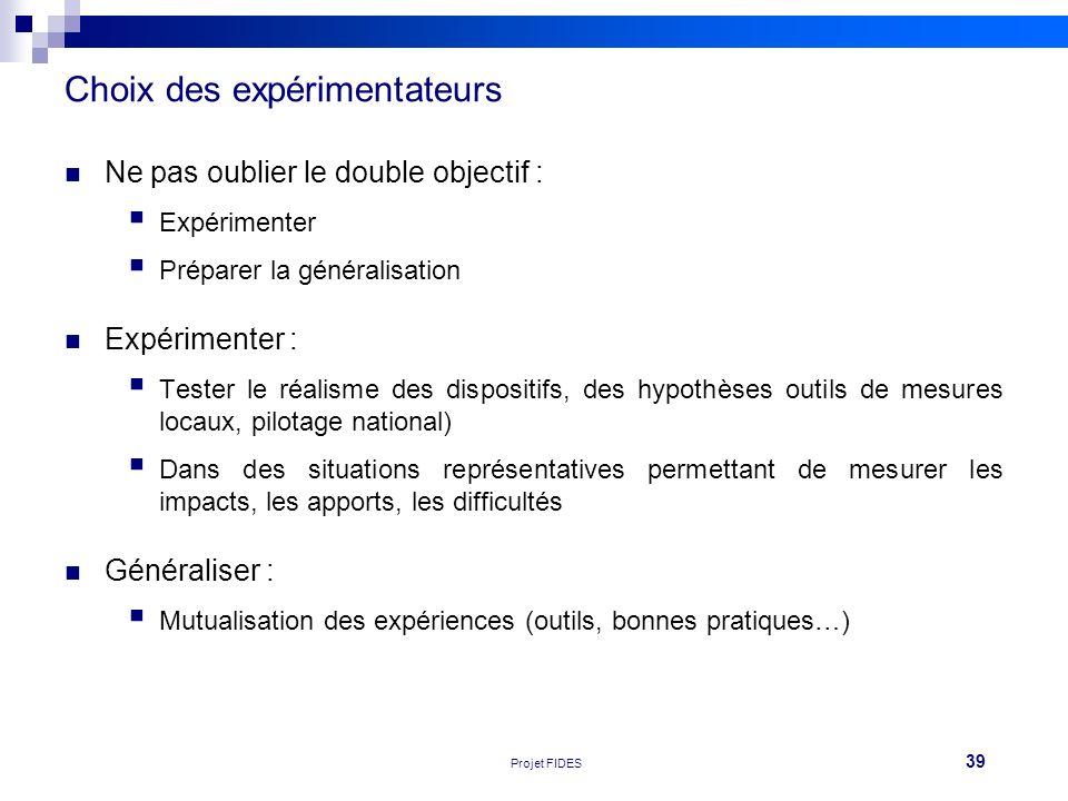39 Réunion FEHAP 16/11/10 V1Projet FIDES Ne pas oublier le double objectif : Expérimenter Préparer la généralisation Expérimenter : Tester le réalisme
