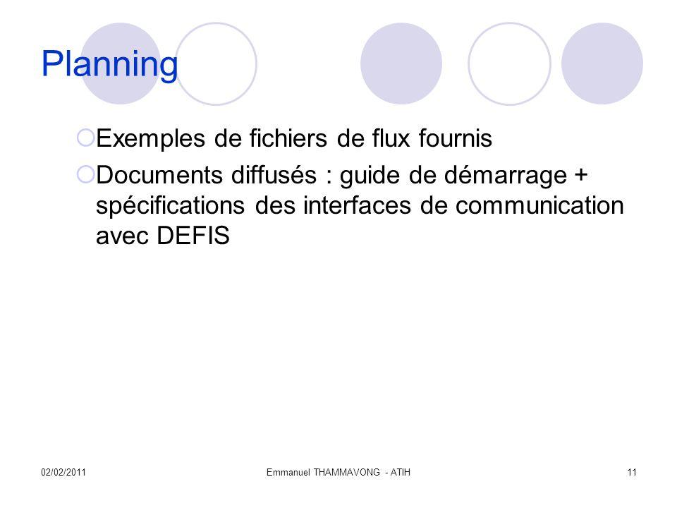 02/02/2011Emmanuel THAMMAVONG - ATIH11 Planning Exemples de fichiers de flux fournis Documents diffusés : guide de démarrage + spécifications des interfaces de communication avec DEFIS