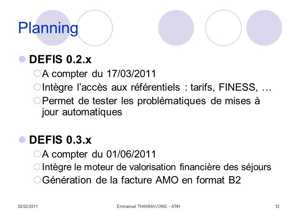 02/02/2011Emmanuel THAMMAVONG - ATIH12 Planning DEFIS 0.2.x A compter du 17/03/2011 Intègre laccès aux référentiels : tarifs, FINESS, … Permet de tester les problématiques de mises à jour automatiques DEFIS 0.3.x A compter du 01/06/2011 Intègre le moteur de valorisation financière des séjours Génération de la facture AMO en format B2