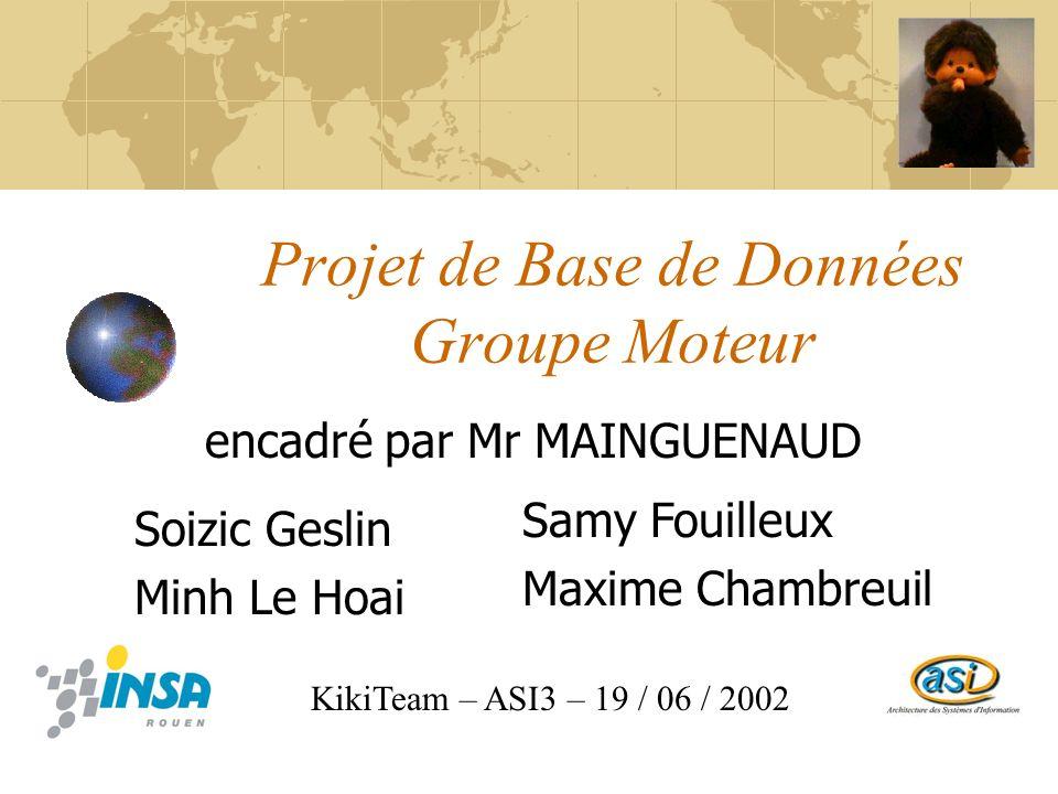 Projet de Base de Données Groupe Moteur encadré par Mr MAINGUENAUD KikiTeam – ASI3 – 19 / 06 / 2002 Soizic Geslin Minh Le Hoai Samy Fouilleux Maxime Chambreuil
