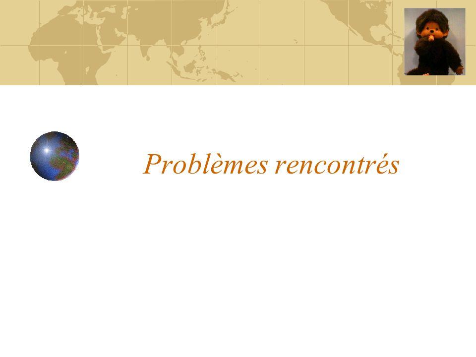 Problèmes rencontrés