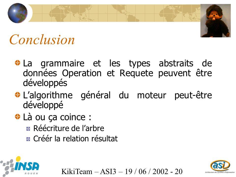 KikiTeam – ASI3 – 19 / 06 / 2002 - 20 Conclusion La grammaire et les types abstraits de données Operation et Requete peuvent être développés Lalgorithme général du moteur peut-être développé Là ou ça coince : Réécriture de larbre Créér la relation résultat