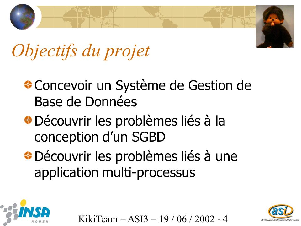 KikiTeam – ASI3 – 19 / 06 / 2002 - 4 Objectifs du projet Concevoir un Système de Gestion de Base de Données Découvrir les problèmes liés à la conception dun SGBD Découvrir les problèmes liés à une application multi-processus