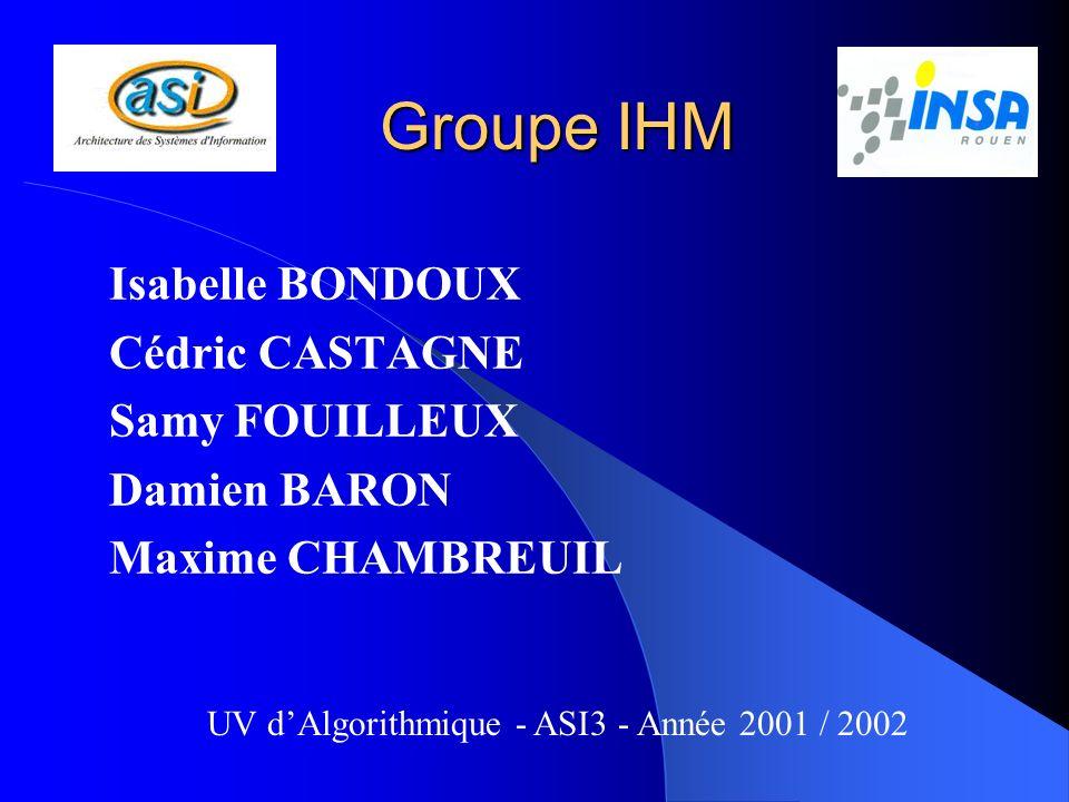 Groupe IHM Isabelle BONDOUX Cédric CASTAGNE Samy FOUILLEUX Damien BARON Maxime CHAMBREUIL UV dAlgorithmique - ASI3 - Année 2001 / 2002