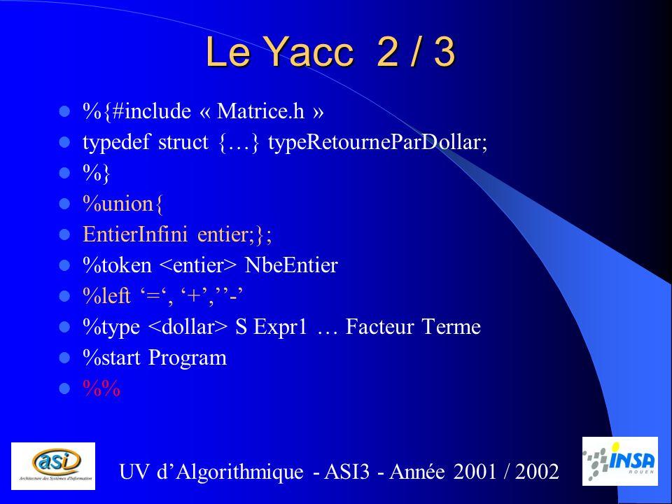 Le Yacc 2 / 3 %{#include « Matrice.h » typedef struct {…} typeRetourneParDollar; %} %union{ EntierInfini entier;}; %token NbeEntier %left =, +,- %type