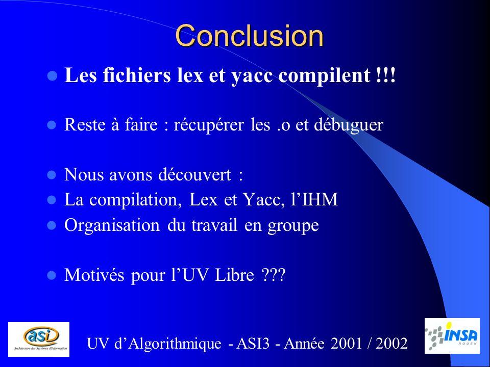 Conclusion Les fichiers lex et yacc compilent !!! Reste à faire : récupérer les.o et débuguer Nous avons découvert : La compilation, Lex et Yacc, lIHM