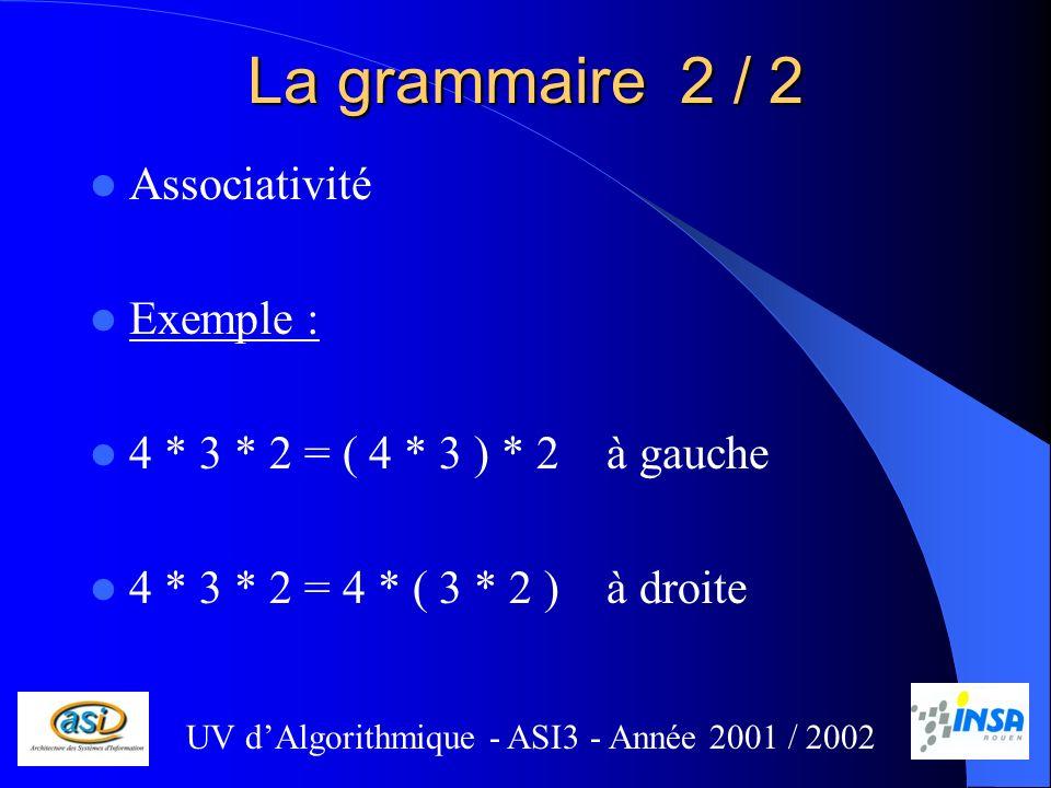 La grammaire 2 / 2 Associativité Exemple : 4 * 3 * 2 = ( 4 * 3 ) * 2 à gauche 4 * 3 * 2 = 4 * ( 3 * 2 ) à droite UV dAlgorithmique - ASI3 - Année 2001 / 2002