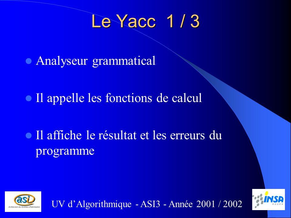 Le Yacc 1 / 3 Analyseur grammatical Il appelle les fonctions de calcul Il affiche le résultat et les erreurs du programme UV dAlgorithmique - ASI3 - Année 2001 / 2002