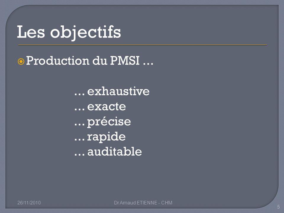 Production du PMSI...... exhaustive... exacte... précise... rapide... auditable 26/11/2010Dr Arnaud ETIENNE - CHM 5 Les objectifs