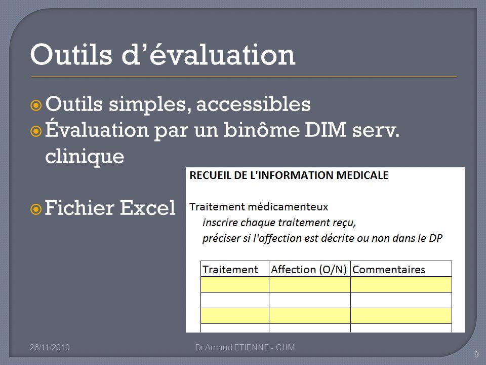 Outils simples, accessibles Évaluation par un binôme DIM serv. clinique Fichier Excel 26/11/2010Dr Arnaud ETIENNE - CHM 9 Outils dévaluation